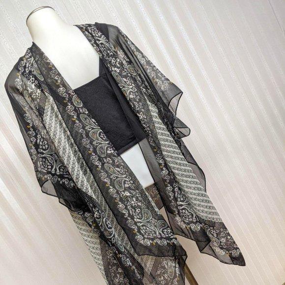 Swimwear Shear Cover-up Black Paisleys One Size